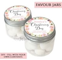 Christening Favour Jars Personalised Jessica Florals