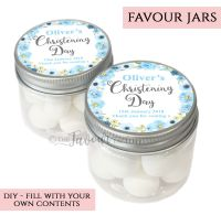 Christening Favour Jars Personalised Jessica Florals Blue