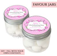 Christening Favour Jars Personalised Candy Sweets Pink