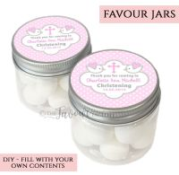 Christening Favour Jars Personalised Doves Pink