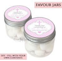 Christening Favour Jars Personalised Polka Dots Pink