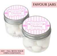 Christening Favour Jars Personalised Stripes Pink