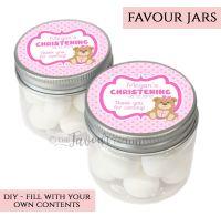 Christening Favour Jars Personalised Teddy Bear Pink