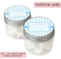 Christening Favour Jars Personalised Stripes Blue