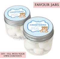 Christening Favour Jars Personalised Teddy Bear Blue