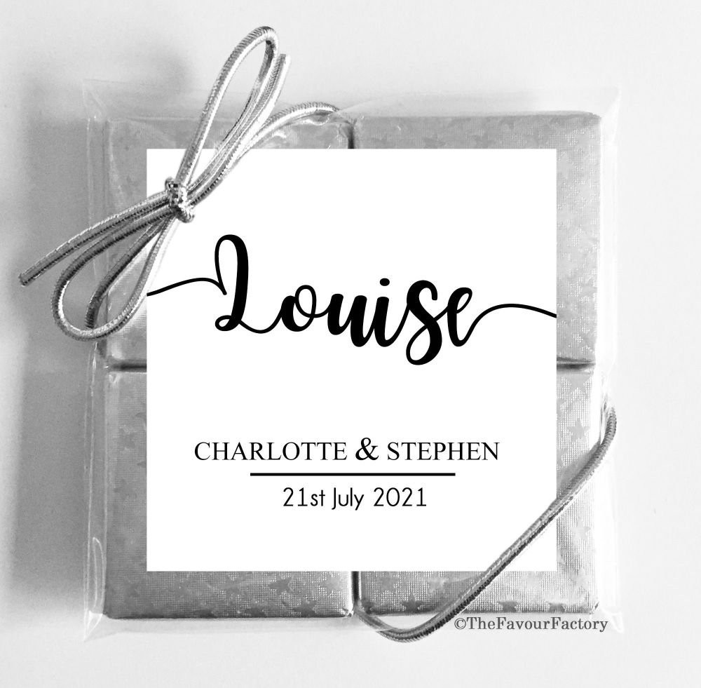 Personalised Wedding Place Setting Chocolate Favours Quads Classic x1