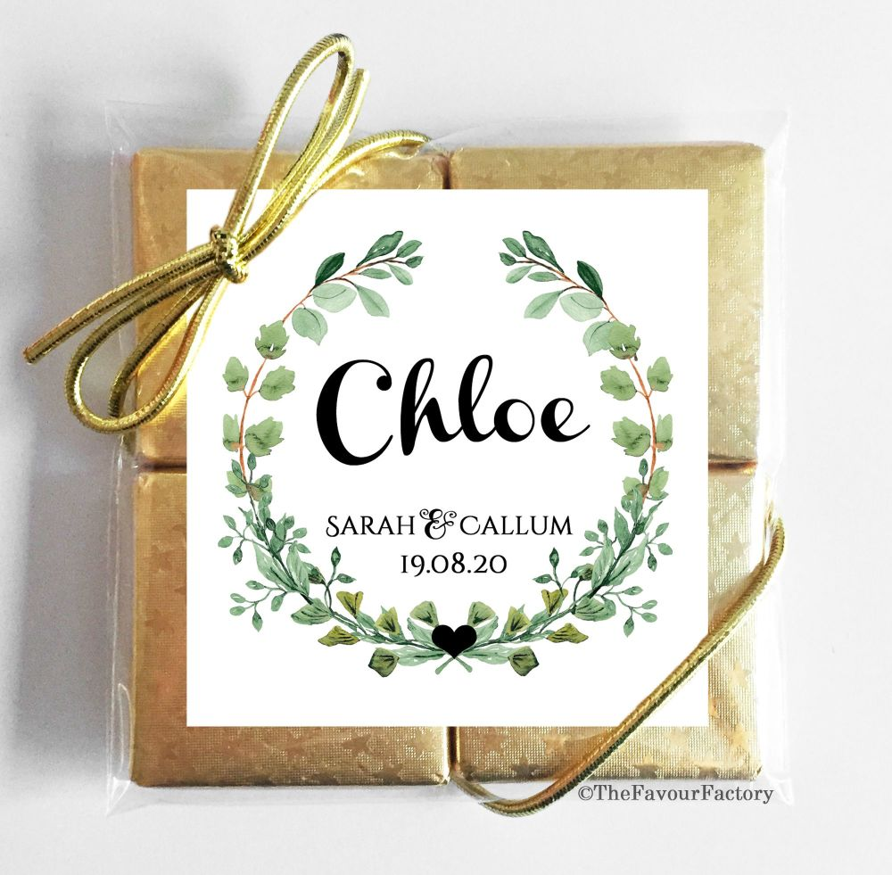 Personalised Wedding Place Name Setting Chocolate Favours Quads - Botanical
