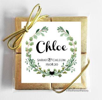 Wedding Place Name Setting Chocolate Favours Quads - Botanical Wreath x1