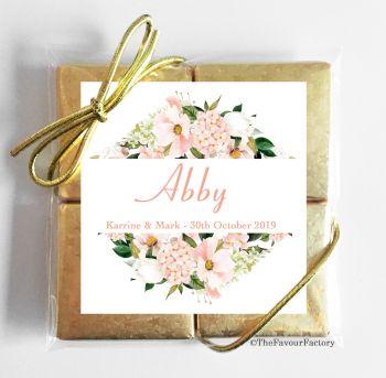 Wedding Place Name Setting Chocolate Favours Quads - Blush Hydrangeas Bouquet x1