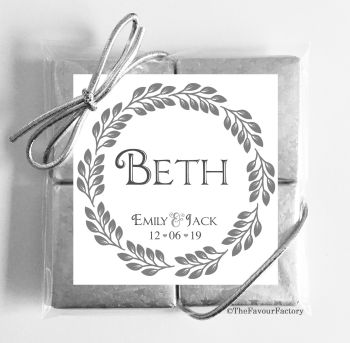 Wedding Place Name Setting Chocolate Favours Quads - Boho Leaf Frame x1