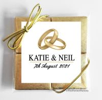 Gold Rings Wedding Chocolate Favours Quads x1