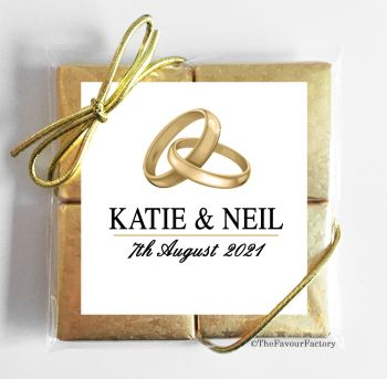 Wedding Chocolates Favours Quads Gold Rings x1