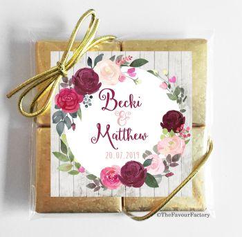 Wedding Chocolates Favours Quads Blush Burgundy Florals x1