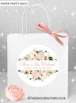 Hen Do Party Bags Boho Blush Hydrangeas Floral Frame x1