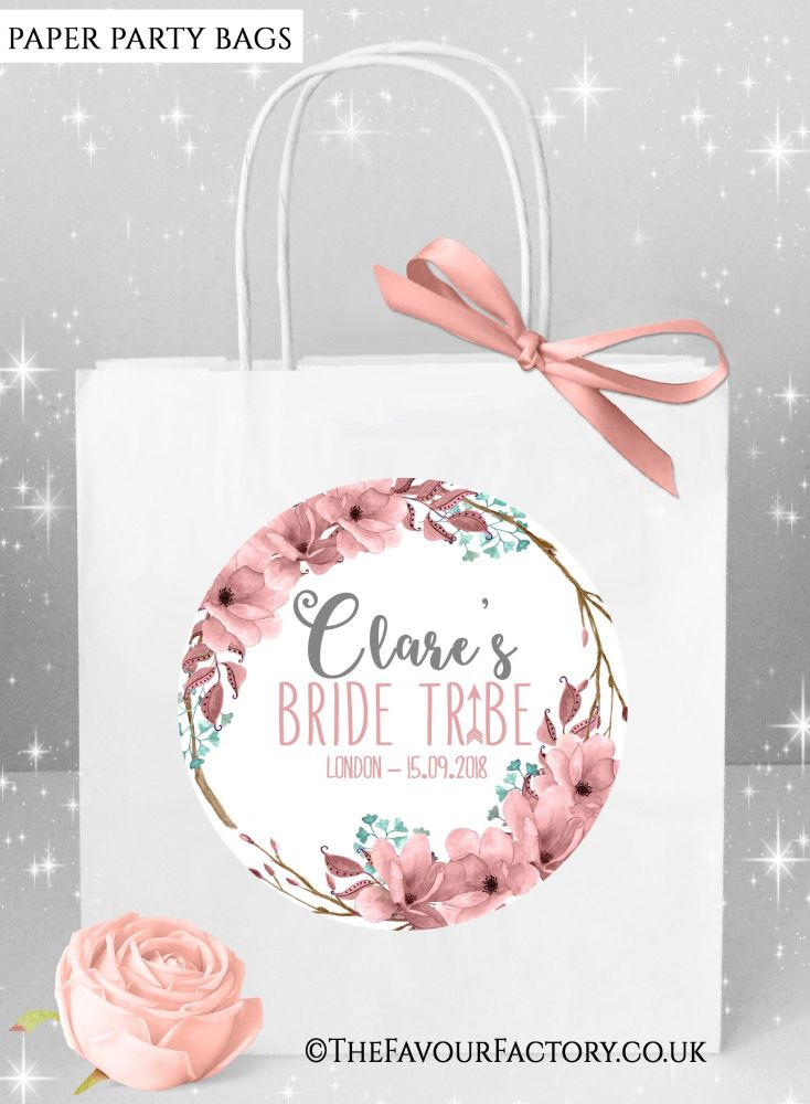Boho Floral Wreath Hen Party Bags x1