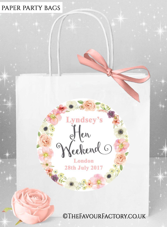 Hen Do Party Bags Boho Jessica Floral Wreath x5