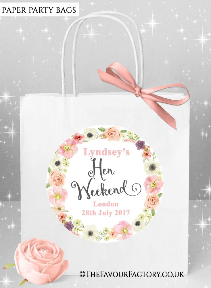 Blush Watercolour Flowers Hen Party Bags x1