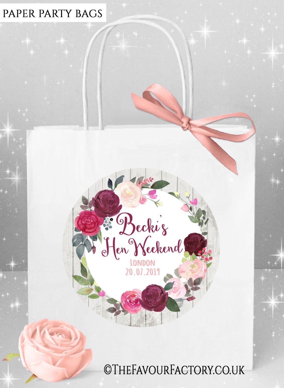 Hen Do Party Bags Burgundy Blush Floral Wreath x5