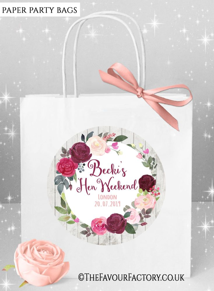 Burgundy Blush Floral Wreath Hen Party Bags x1