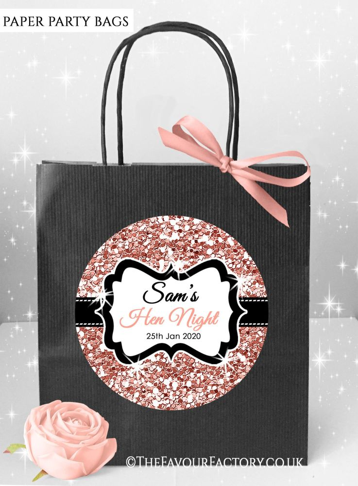 Rose Gold Glitter Hen Party Bags x1