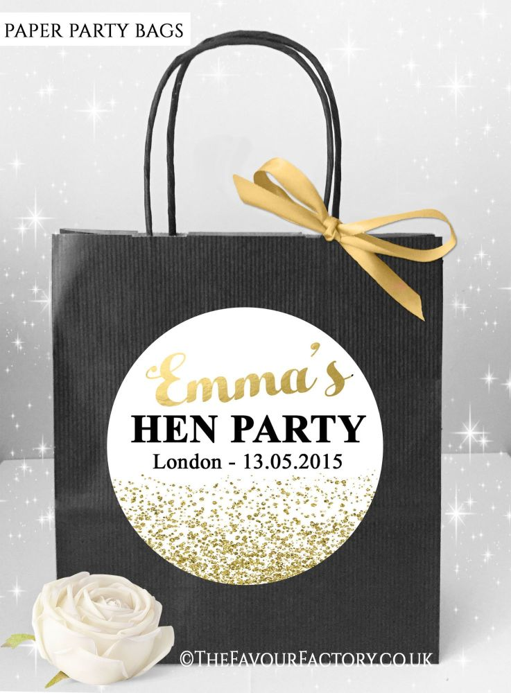 Gold Glitter Confetti Hen Party Bags x1