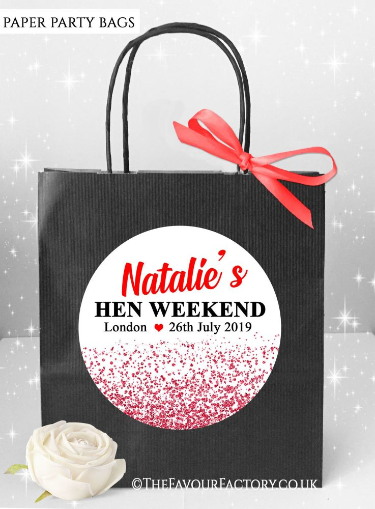 Red Glitter Confetti Hen Party Bags x1