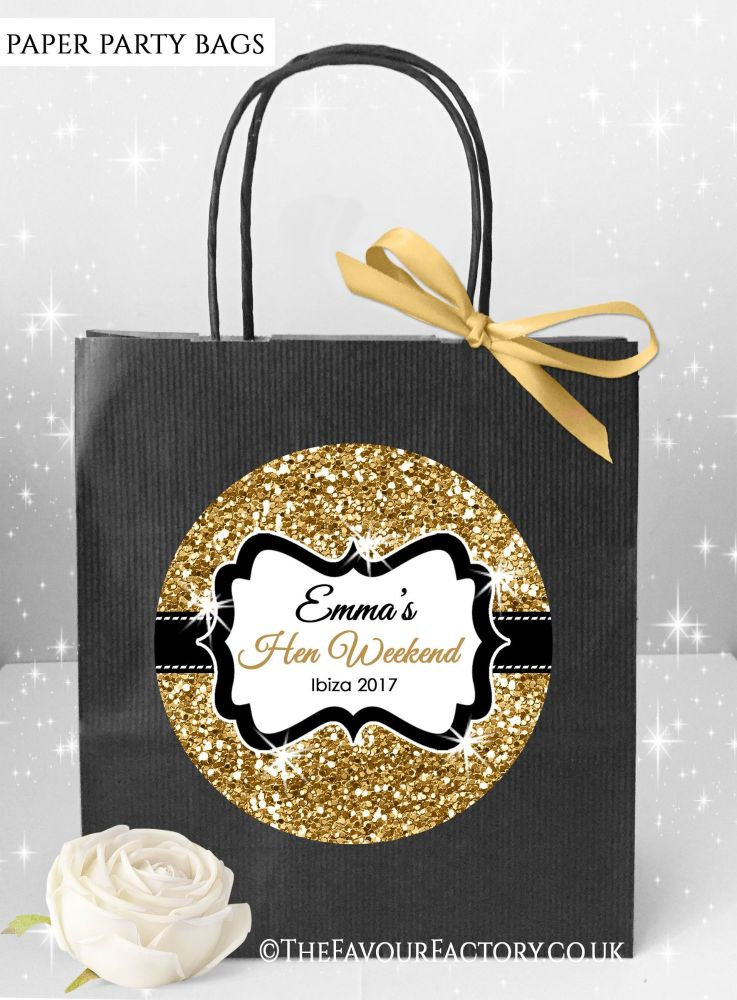 Gold Glitter Hen Party Bags x1