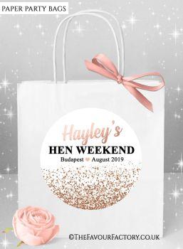 Hen Do Party Bags Rose Gold Glitter Confetti x1