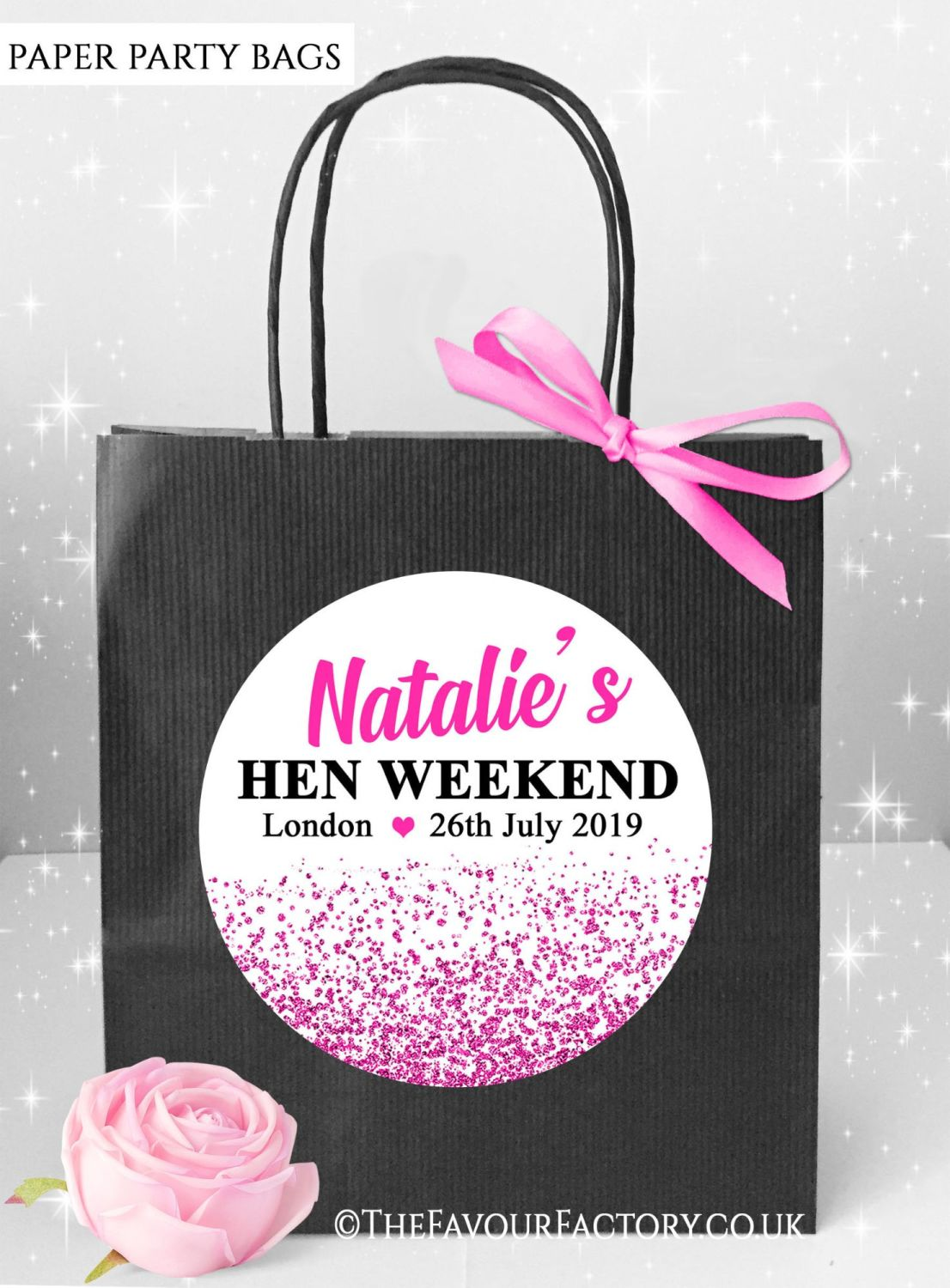 Hen Do Party Bags Hot Pink Glitter Confetti x5