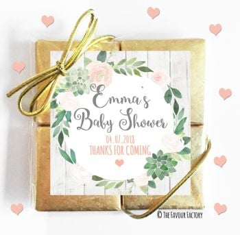 Baby Shower Chocolates Quads Favours Floral Succulents x1