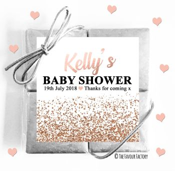 Baby Shower Chocolates Quads Favours Glitter Confetti Rose Gold x1