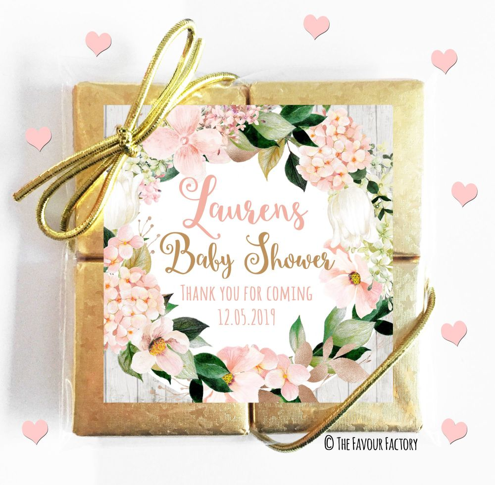 Personalised Baby Shower Chocolates Quads Blush Hydrangeas x1