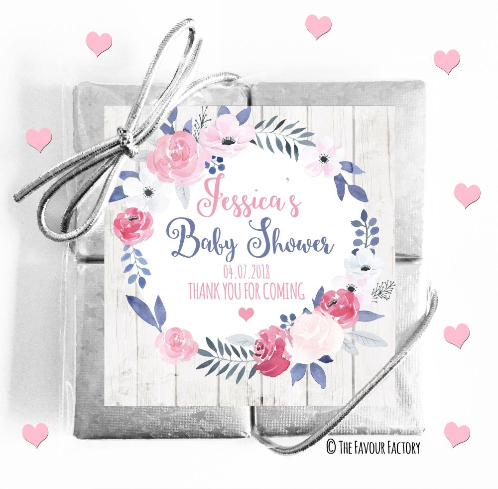 Midnight Rose Baby Shower Chocolates Quads