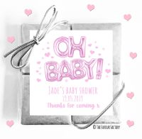 Oh Baby Pink Baby Shower Chocolates Quads