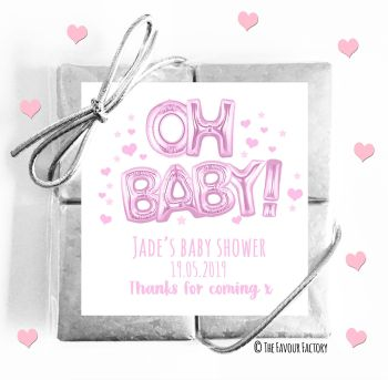 Baby Shower Chocolates Quads Favours Oh baby Pink x1