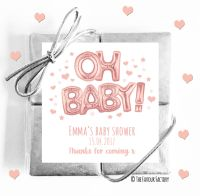 Oh Baby Rose Gold Baby Shower Chocolates Quads