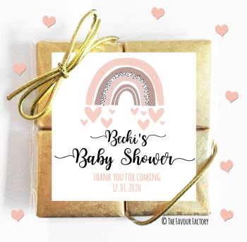 Baby Shower Chocolates Quads Favours Rainbow Pinks x1