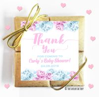 Thank You Flowers Pink and Blue Baby Shower Chocolates Quads