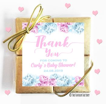 Baby Shower Chocolates Quads Favours Thank You Flowers Pink and Blue x1