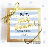 Confetti Stripes Blue Baby Shower Chocolates Quads