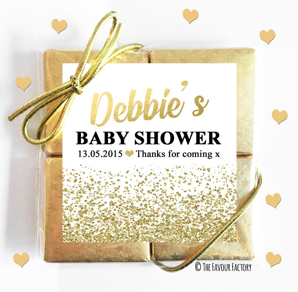 Glitter Confetti Gold Baby Shower Chocolates Quads
