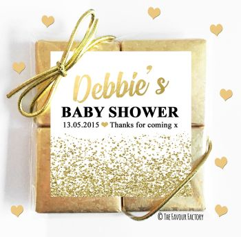 Baby Shower Chocolates Quads Favours Glitter Confetti Gold x1