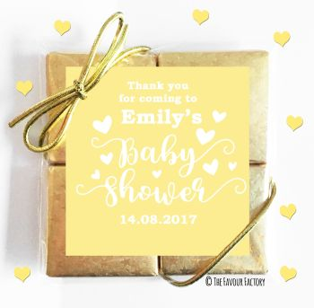 Baby Shower Chocolates Quads Favours Love Heart Yellow x1