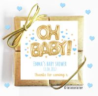 Oh Baby Gold & Blue Baby Shower Chocolates Quads