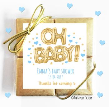 Baby Shower Chocolates Quads Favours Oh Baby Gold & Blue x1