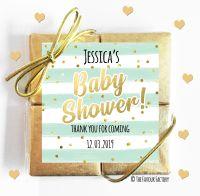 Confetti Stripes Mint Baby Shower Chocolates Quads