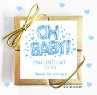Oh Baby Blue Baby Shower Chocolates Quads
