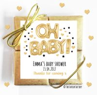 Oh Baby Gold Baby Shower Chocolates Quads