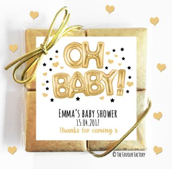 Baby Shower Chocolates Quads Favours Oh Baby Gold x1