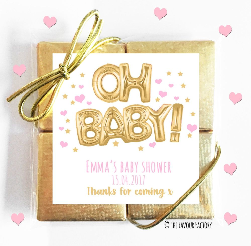 Oh Baby Gold and Pink Baby Shower Chocolates Quads